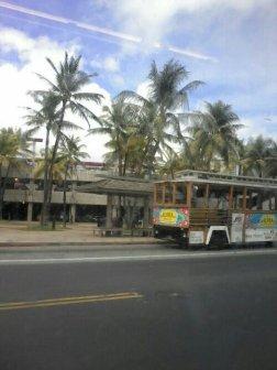 Aloha un Waikiki trolley. Pārsvarā ar tiem vizinās tūristi, galvenokārt tie no Āzijas :)